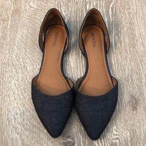 Chambray pointed toe flats